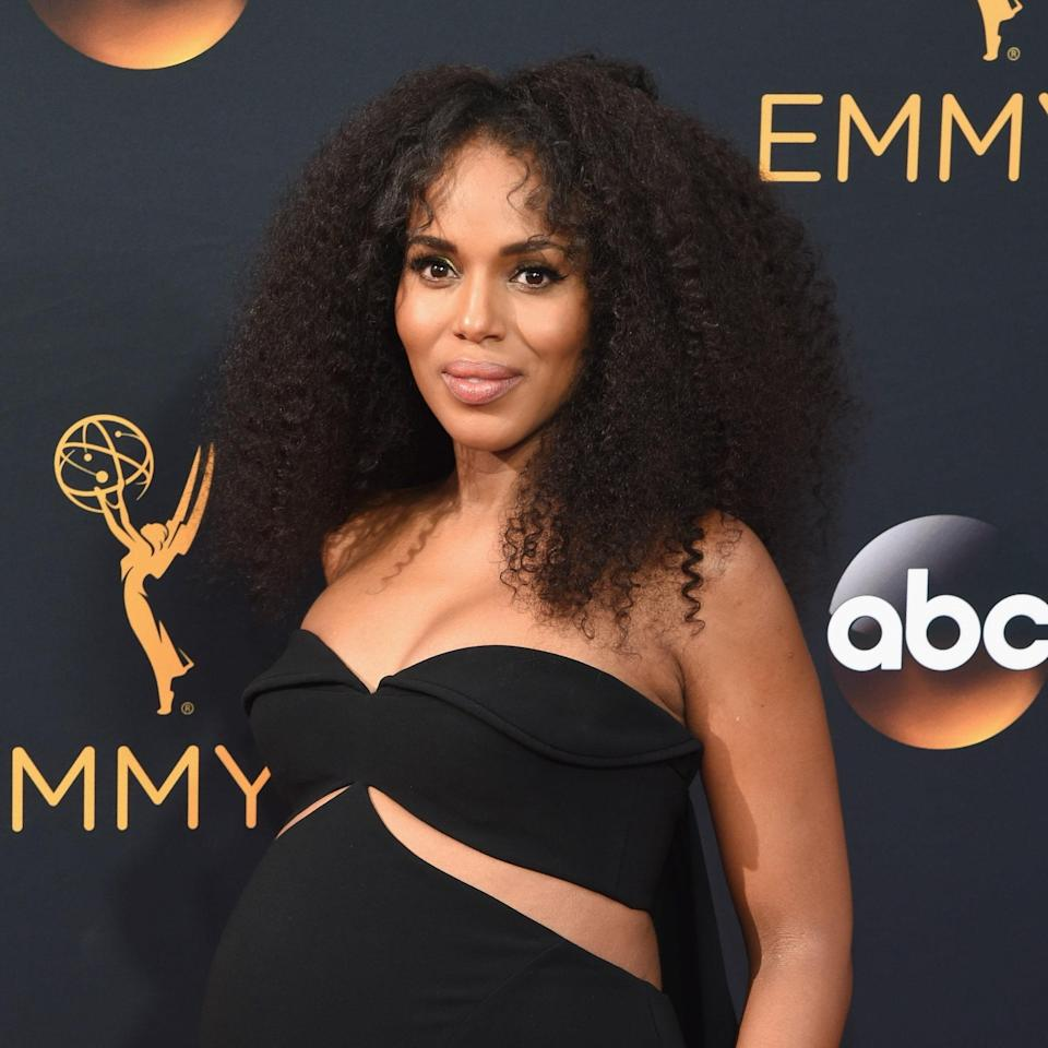 """Kerry Washington has always been a natural beauty and <a href=""""https://www.allure.com/story/kerry-washington-afro?mbid=synd_yahoo_rss"""" rel=""""nofollow noopener"""" target=""""_blank"""" data-ylk=""""slk:so has her hair"""" class=""""link rapid-noclick-resp"""">so has her hair</a>. Case in point: these curls, honey. They cascade past her shoulders and the shorter layers around her face add a beautiful softness to the look. We needed answers for her secret weapon to keeping this hair full and lush, so we went to <a href=""""https://www.instagram.com/takishahair/?hl=en"""" rel=""""nofollow noopener"""" target=""""_blank"""" data-ylk=""""slk:Takisha Sturdivant-Drew"""" class=""""link rapid-noclick-resp"""">Takisha Sturdivant-Drew</a>, who has been Washington's hairstylist for over a decade. """"When it came to the hairstyle, I felt like she needed volume and texture,"""" she said of the actor's kinky curls. """"The layers opened up her face and added movement to her hair."""""""