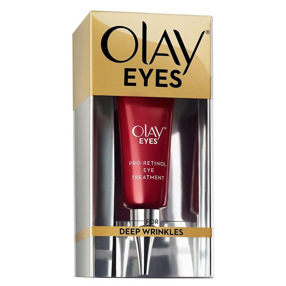 "<h3>Olay Eyes Pro-Retinol Eye Cream Treatment</h3><br>Tap this potent wrinkle-smoother around your eyes and over crow's feet daily. The retinol is formulated to be non-irritating, so you can use it in the morning, but you'll want to make sure you go over it with SPF.<br><br><strong>Olay</strong> Olay Eyes Pro-Retinol Eye Treatment, $, available at <a href=""https://go.skimresources.com/?id=30283X879131&url=https%3A%2F%2Fwww.target.com%2Fp%2Folay-eyes-pro-retinol-eye-treatment-0-5-oz%2F-%2FA-50786931"" rel=""nofollow noopener"" target=""_blank"" data-ylk=""slk:Target"" class=""link rapid-noclick-resp"">Target</a>"