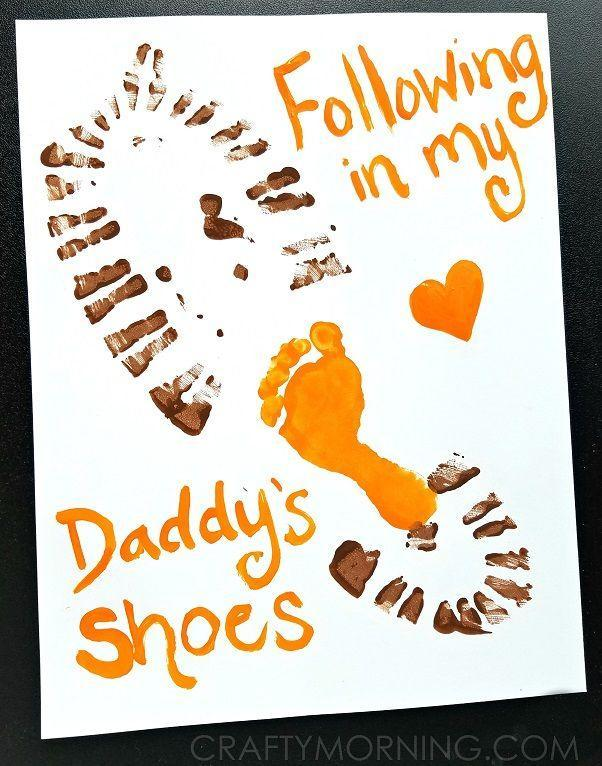 """<p>Grab one of dad's shoes (preferably an old and unused one) and dip it into some paint to make a shoe print. Follow the same process with baby's footprint, and you have an adorable card he'll hold on to for years to come. </p><p><em><a href=""""https://www.craftymorning.com/following-daddys-shoes-fathers-day-craft/"""" rel=""""nofollow noopener"""" target=""""_blank"""" data-ylk=""""slk:Get the tutorial from Crafty Morning »"""" class=""""link rapid-noclick-resp"""">Get the tutorial from Crafty Morning »</a></em> <br></p>"""