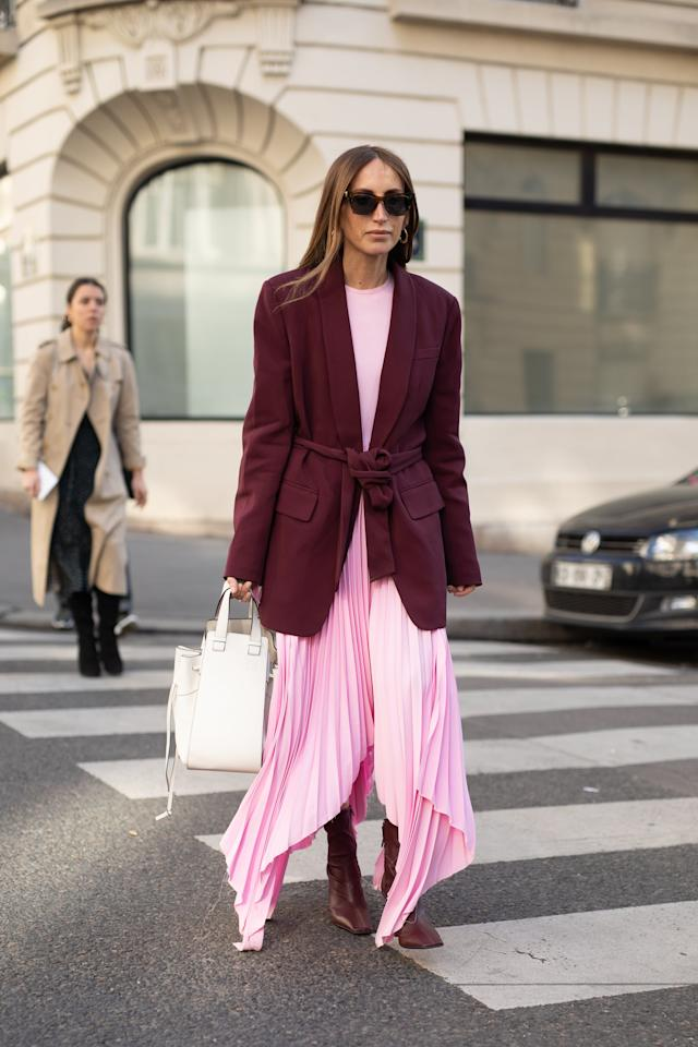 <p>Go for a look that's equal parts flowy and tailored by choosing a dress with airy volume topped with a more sophistocated blazer to finish it off.</p>