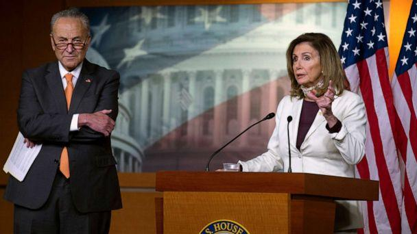 PHOTO: House Speaker Nancy Pelosi, joined by Senate Minority Leader Sen. Chuck Schumer, speaks during a news conference on Capitol Hill in Washington, Aug. 6, 2020. (Jose Luis Magana/AP)