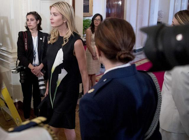 Ivanka Trump in a Victoria Beckham for Target dress that's now on clearance for $17.50. (Photo: AP Images)
