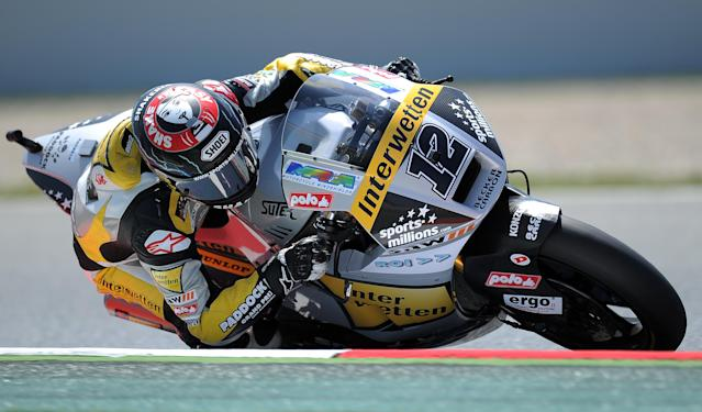 Interwetten-Paddock's Swiss Thomas Luthi takes a curve at the Catalunya racetrack in Montmelo, near Barcelona, on June 1, 2012, during the Moto 2 second training session of the Catalunya Moto GP Grand Prix. AFP PHOTO/LLUIS GENELLUIS GENE/AFP/GettyImages