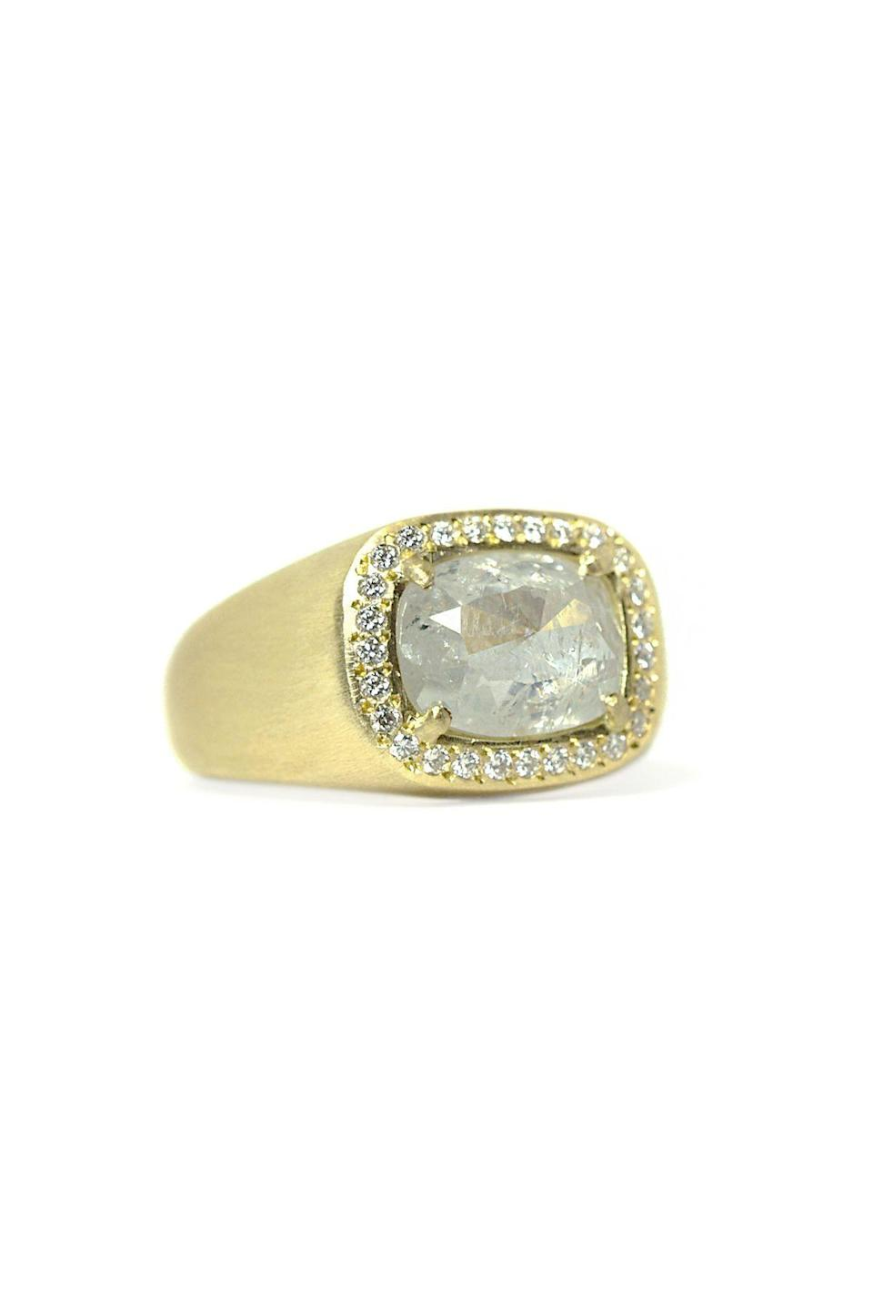 """<p><strong>Yasuko Azuma</strong></p><p>stylebymax.com</p><p><strong>$7260.00</strong></p><p><a href=""""https://stylebymax.com/shop/jewelry/rings/large-icy-diamond-ring/"""" rel=""""nofollow noopener"""" target=""""_blank"""" data-ylk=""""slk:Shop Now"""" class=""""link rapid-noclick-resp"""">Shop Now</a></p><p>The combination of a two-carat gray diamond and matte gold is super chic. The thick band adds a nice heft that is sure to catch everyone's eye.</p>"""