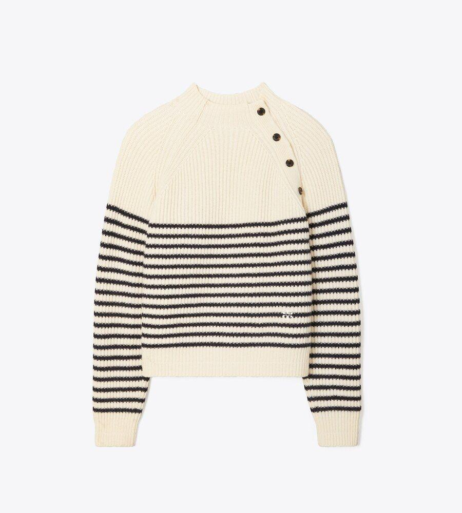 """<p><strong>Tory Burch</strong></p><p>toryburch.com</p><p><a href=""""https://go.redirectingat.com?id=74968X1596630&url=https%3A%2F%2Fwww.toryburch.com%2Fbreton-stripe-merino-mock-neck-sweater%2F78380.html&sref=https%3A%2F%2Fwww.townandcountrymag.com%2Fstyle%2Fg37340584%2Fshop-the-best-deals-from-tory-burchs-private-sale%2F"""" rel=""""nofollow noopener"""" target=""""_blank"""" data-ylk=""""slk:Shop Now"""" class=""""link rapid-noclick-resp"""">Shop Now</a></p><p><strong><del>$298</del> $219 (27% off)</strong></p><p>Sweater weather will be here before you know it, so layer up. in this striped, mock-neck style. </p>"""