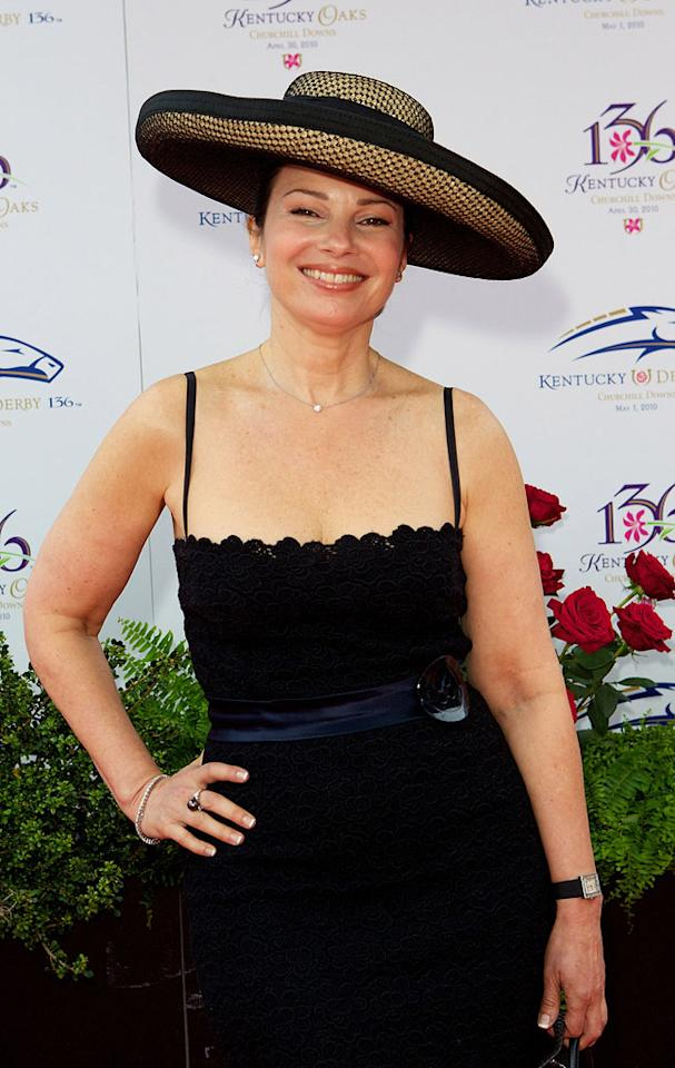 "Former ""Nanny"" star Fran Drescher went for a no muss, no fuss look, which is understandable because of the wet weather that left Churchill Downs muddy and messy. But may we suggest she add a pop of color in the future to liven things up? Michael Hickey/ WireImage.com - May 1, 2010"
