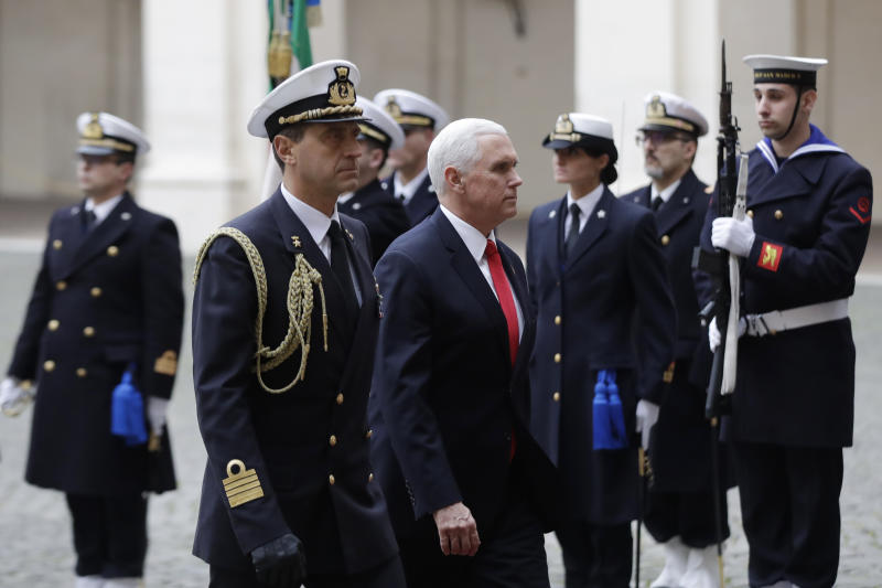 Vice President Mike Pence arrives for a bilateral meeting with the President of the Italian Republic Sergio Mattarella at the Quirinale Presidential palace, in Rome, Friday, Jan 24, 2020. (AP Photo/Alessandra Tarantino)