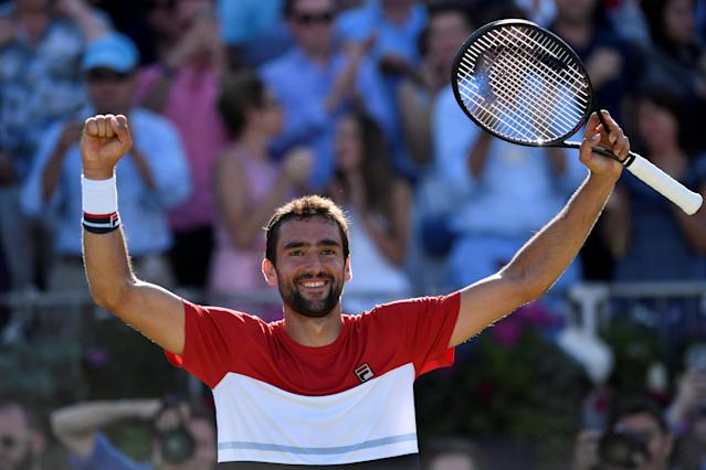 Tennis - ATP 500 - Fever-Tree Championships - The Queen's Club, London, Britain - June 24, 2018 Croatia's Marin Cilic celebrates after winning the final against Serbia's Novak Djokovic Action Images via Reuters/Tony O'Brien
