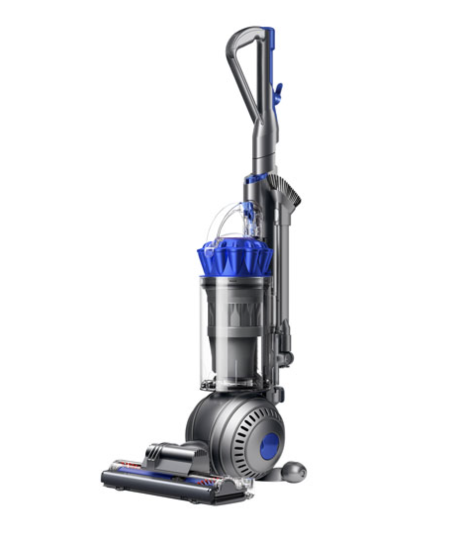 silver and blue Dyson Ball Allergy+ Upright Bagless Vacuum standing upright