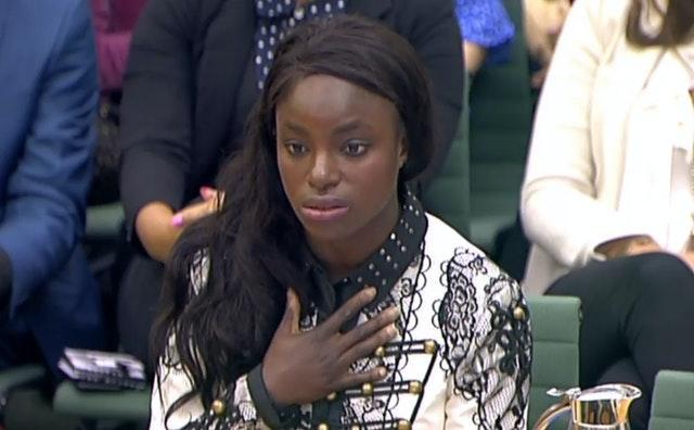 Eniola Aluko answered questions in front of a Digital, Culture, Media and Sport committee in 2017