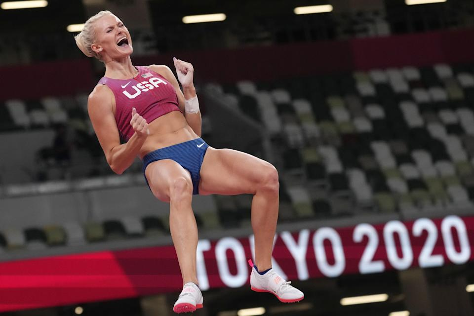Katie Nageotte (USA) competes in the women's pole vault final at the Tokyo Olympics.