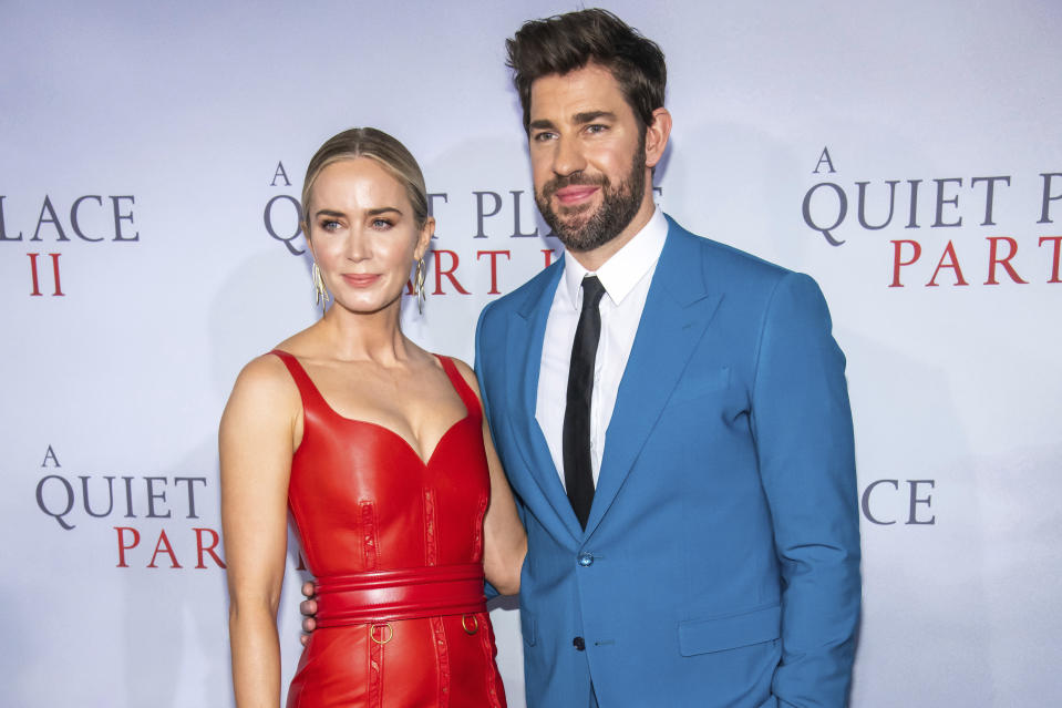 """Emily Blunt and John Krasinski attend the world premiere of Paramount Pictures' """"A Quiet Place Part II"""" at Jazz at Lincoln Center's Frederick P. Rose Hall on Sunday, March 8, 2020, in New York. (Photo by Charles Sykes/Invision/AP)"""