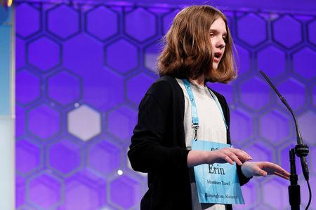 Erin Howard spells a word during the Scripps National Spelling Bee at National Harbor in Oxon Hill Maryland U.S