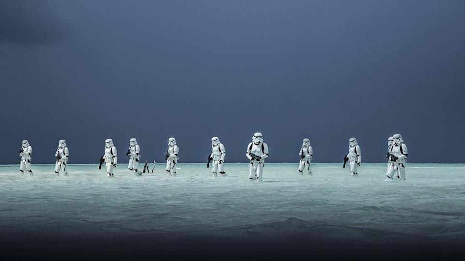 <p>Similarly, this striking publicity still of Stormtroopers wading through the water doesn't appear in the film. Credit: Lucasfilm/Disney </p>