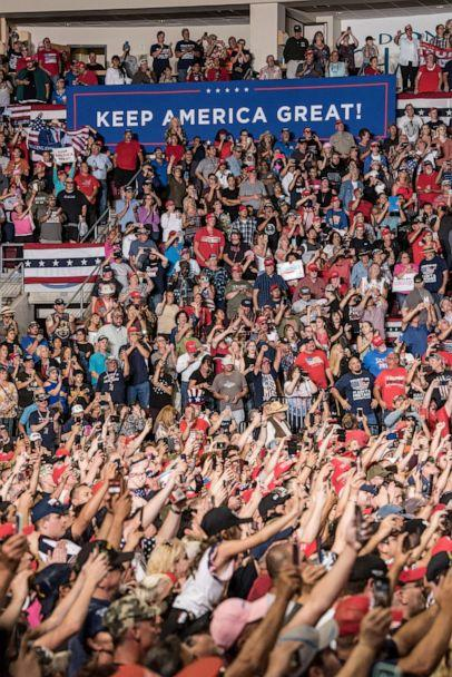PHOTO: Supporters watch President Donald J. Trump speak during his Keep America Great Rally on September 16, 2019 at the Santa Ana Star Center in Rio Rancho, New Mexico. (Cengiz Yar/Getty Images)