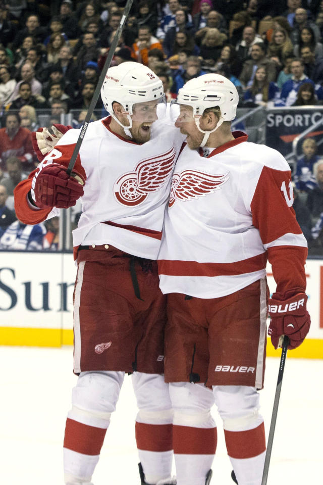 Detroit Red Wings' Joakim Andersson, left, celebrates with Daniel Alfredsson after scoring against the Toronto Maple Leafs during first period NHL hockey action in Toronto on Saturday, Dec 21, 2013. (AP Photo/The Canadian Press, Chris Young, File)