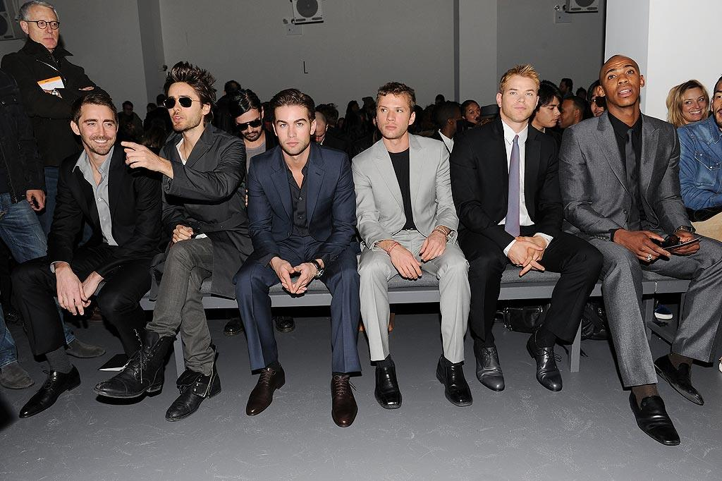 "The boys are back in town! Lee Pace, Jared Leto, Chace Crawford, Ryan Phillippe, Kellan Lutz, and Mehcad Brooks brought some serious heat to the Calvin Klein Men's Collection show. Andrew H. Walker/<a href=""http://www.gettyimages.com/"" target=""new"">GettyImages.com</a> - February 14, 2010"