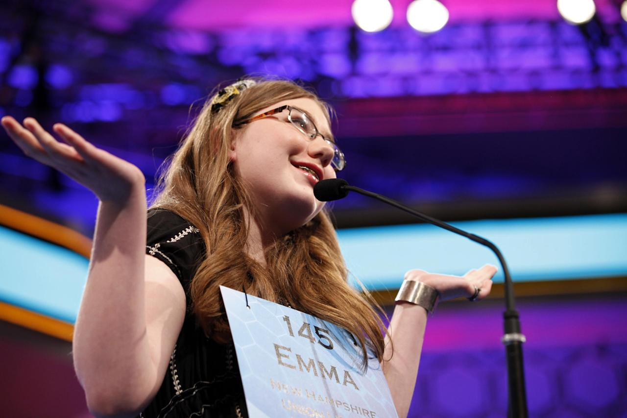 Emma Ciereszynski, 14, of Dover, N.H., shrugs after misspelling a word in the finals of the National Spelling Bee in Oxon Hill, Md., on Thursday, May 31, 2012. (AP Photo/Jacquelyn Martin)