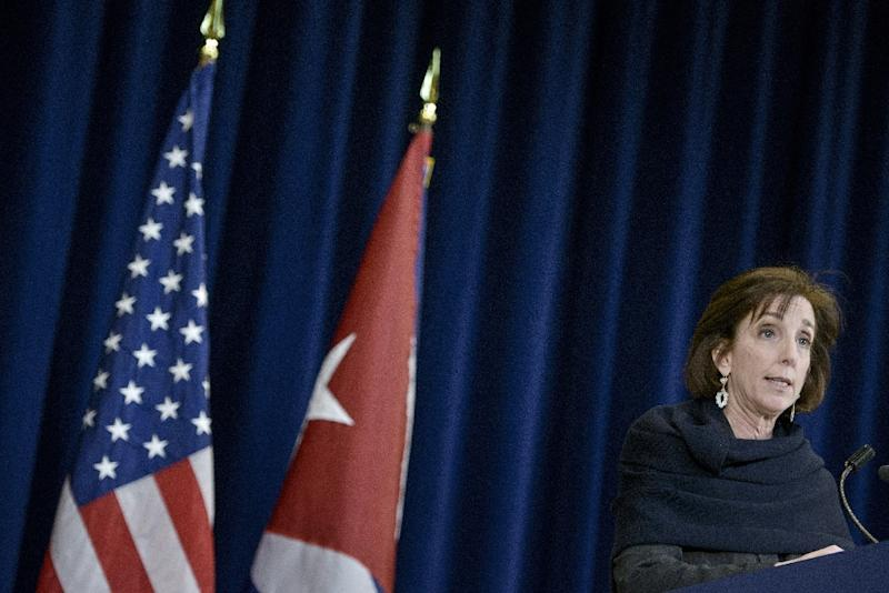 US Assistant Secretary of State for the Western Hemisphere Roberta Jacobson arrives to speak to the press after talks with Cuba at the US State Department in Washington, DC on February 27, 2015 (AFP Photo/Brendan Smialowski)