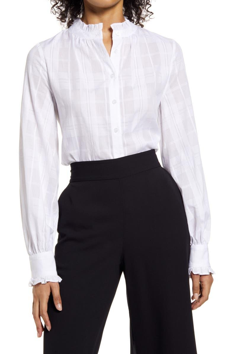 Halogen Ruffle Button-Up Blouse. Image via Nordstrom.