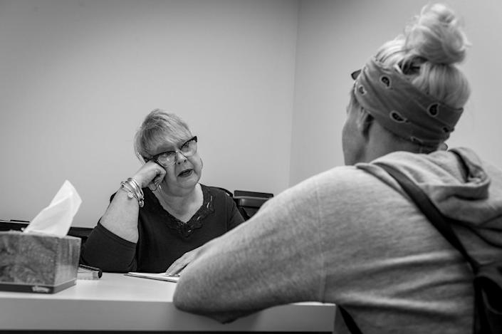 <p>An opiod addicts receive counseling at Groups in Middletown, Ohio. (Photograph by Mary F. Calvert for Yahoo News) </p>