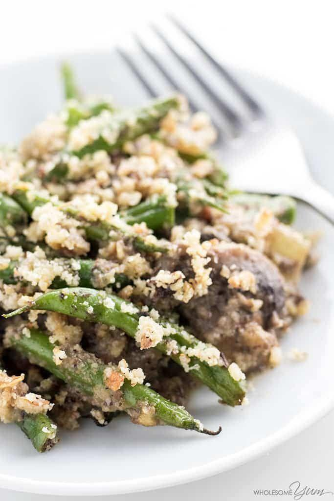 "<p>This is a dish people look forward to all year long—but on keto, this casserole is off limits. Luckily, <a href=""https://www.wholesomeyum.com/recipes/low-carb-green-bean-casserole-gluten-free/"" rel=""nofollow noopener"" target=""_blank"" data-ylk=""slk:Wholesome Yum"" class=""link rapid-noclick-resp"">Wholesome Yum</a> has a killer recipe that packs in all the flavor and nutrition of green beans with a keto-friendly casserole base. There are just 7 grams of net carbs a serving.</p>"