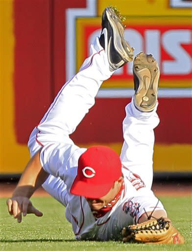 Cincinnati Reds center fielder Chris Heisey catches a line drive hit by Detroit Tigers' Quintin Berry in the first inning of a baseball game, Friday, June 8, 2012, in Cincinnati. (AP Photo/Al Behrman)