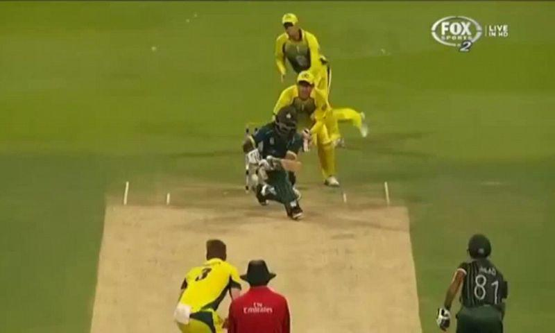 Steve Smith making an early movement towards leg slip for the batsman's paddle sweep.
