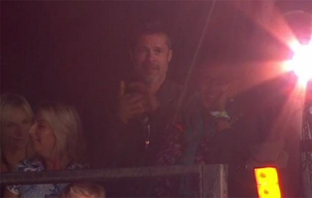 Brad was spotted enjoying the sights and sounds at Glastonbury! Source: BBC