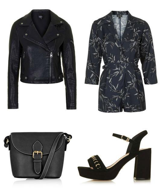 Dress like Lottie in a printed jumpsuit and biker jacket for the perfect balance of edge and class.