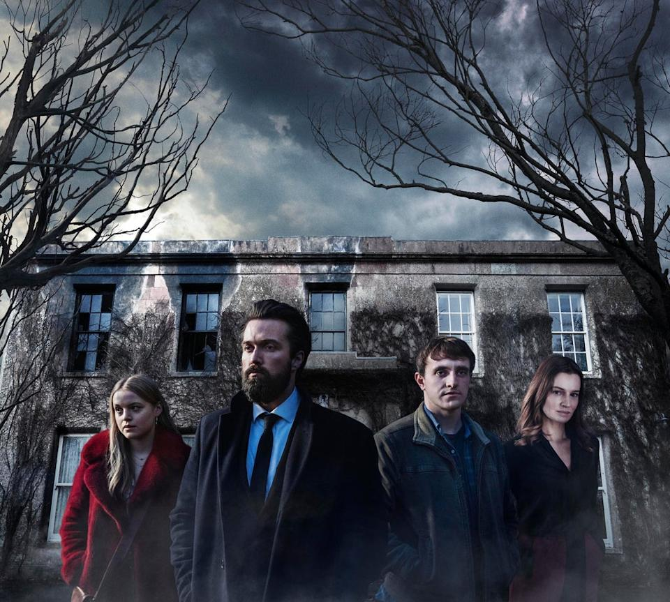 Pictured: (L-R) Emily Reid as Ophelia, Emmett Scanlan as Michael and Catherine Walker as Roisin in The Deceived.