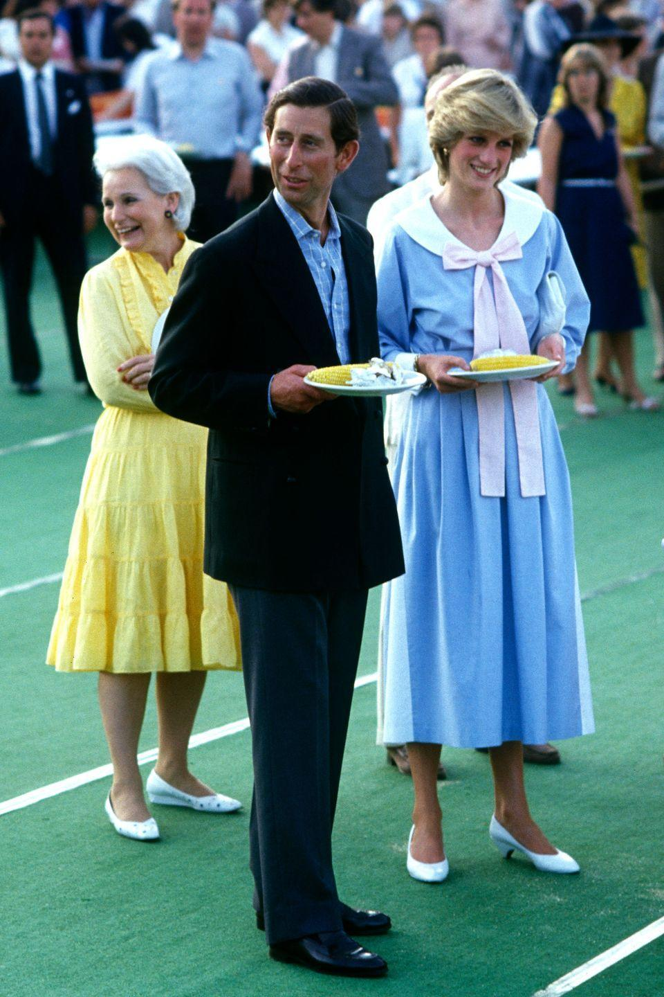 <p>The Princess went for a dress with a particularly exaggerated bow during her and Charles's 1983 royal tour of Canada.<br></p>