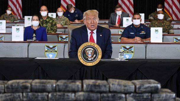 PHOTO: President Donald Trump speaks as he is briefed on Enhanced Narcotics Operations at the US Southern Command in Doral, Fla., July 10, 2020. (Saul Loeb/AFP via Getty Images)
