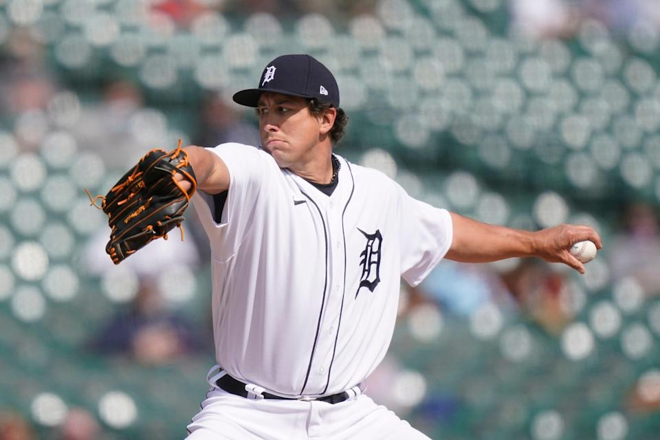 Tigers pitcher Derek Holland throws during the sixth inning against Cleveland on Saturday, April 3, 2021, at Comerica Park.