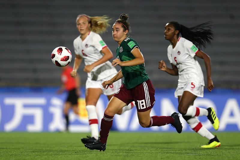 MONTEVIDEO, URUGUAY - NOVEMBER 28: Silvana Flores of Mexico during the FIFA U-17 Women's World Cup Uruguay 2018 semi-final match between Mexico and Canada at Estadio Charrua on November 28, 2018 in Montevideo, Uruguay. (Photo by Maddie Meyer - FIFA/FIFA via Getty Images)