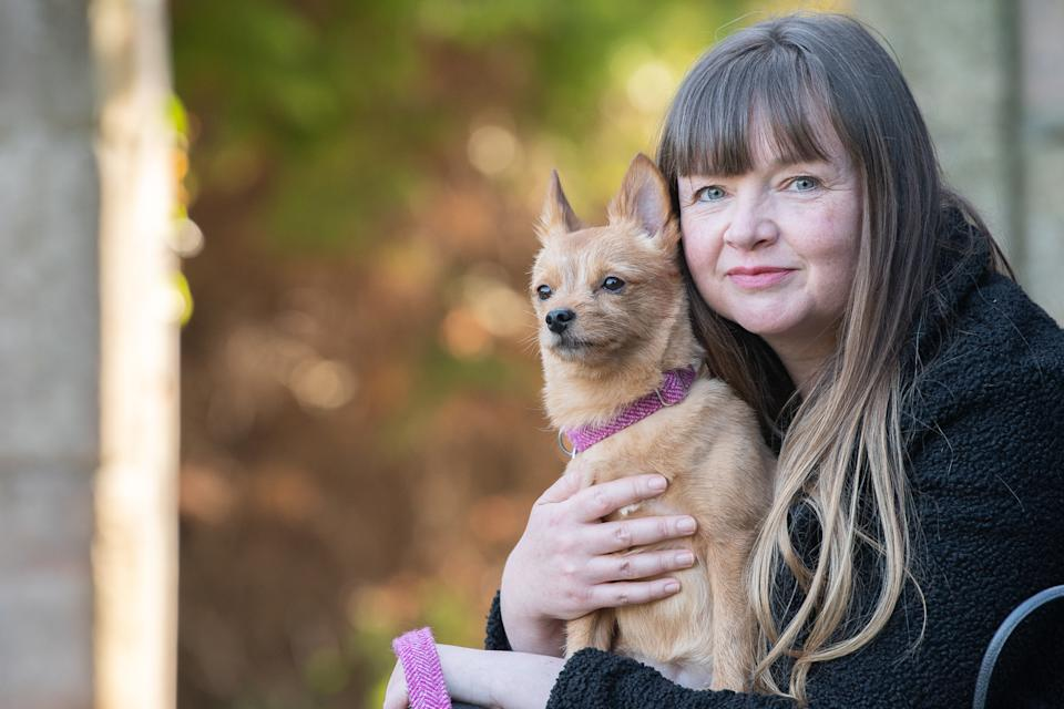 Pet bereavement counsellor Wendy Andrew with her dog Miss Pixie (The Faithful Hound Photography)