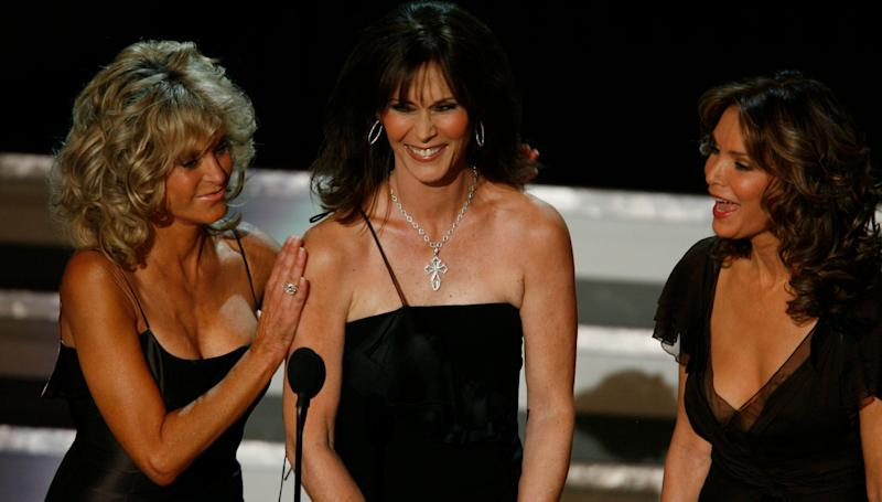 "Farrah Fawcett, left, Kate Jackson and Jaclyn Smith, seen at the 2006 Emmy Awards ceremony, starred in ABC's ""Charlie's Angels,"" a 1970s hit produced by Leonard Goldberg and Aaron Spelling."