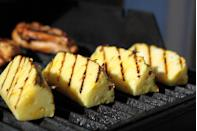 """<p>One of my favourite things to do on the BBQ is to <a href=""""https://www.delish.com/uk/cooking/recipes/a35721468/grilled-pineapple-recipe/"""" rel=""""nofollow noopener"""" target=""""_blank"""" data-ylk=""""slk:caramelise chunks of pineapple"""" class=""""link rapid-noclick-resp"""">caramelise chunks of pineapple</a> by dusting with cinnamon and/or light brown sugar. Then you can put them in a parcel of tin foil with some rum, maple syrup, mint and lime. </p><p>While the BBQ is dying down after the main event, wrap the fruit parcel up and cook away for about 20 minutes. When you open them up, they're so unbelievably tasty. </p><p>You can do this with any fruit you like and serve with some vegan ice cream or cream on the side if you prefer. </p><p>Chestnuts are also great to use for vegan puddings. They add a delicious nutty texture and flavour. I love making a big batch of chestnut banana ice cream for my guests to have in cones, or a big chocolate chestnut tart for people to tuck into.</p>"""