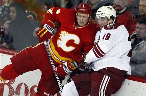 Phoenix Coyotes' Shane Doan, right, and Calgary Flames' Jay Bouwmeester crash into the boards during the second period of an NHL hockey game in Calgary, Alberta, Sunday, Feb. 24, 2013. (AP Photo/The Canadian Press, Jeff McIntosh)