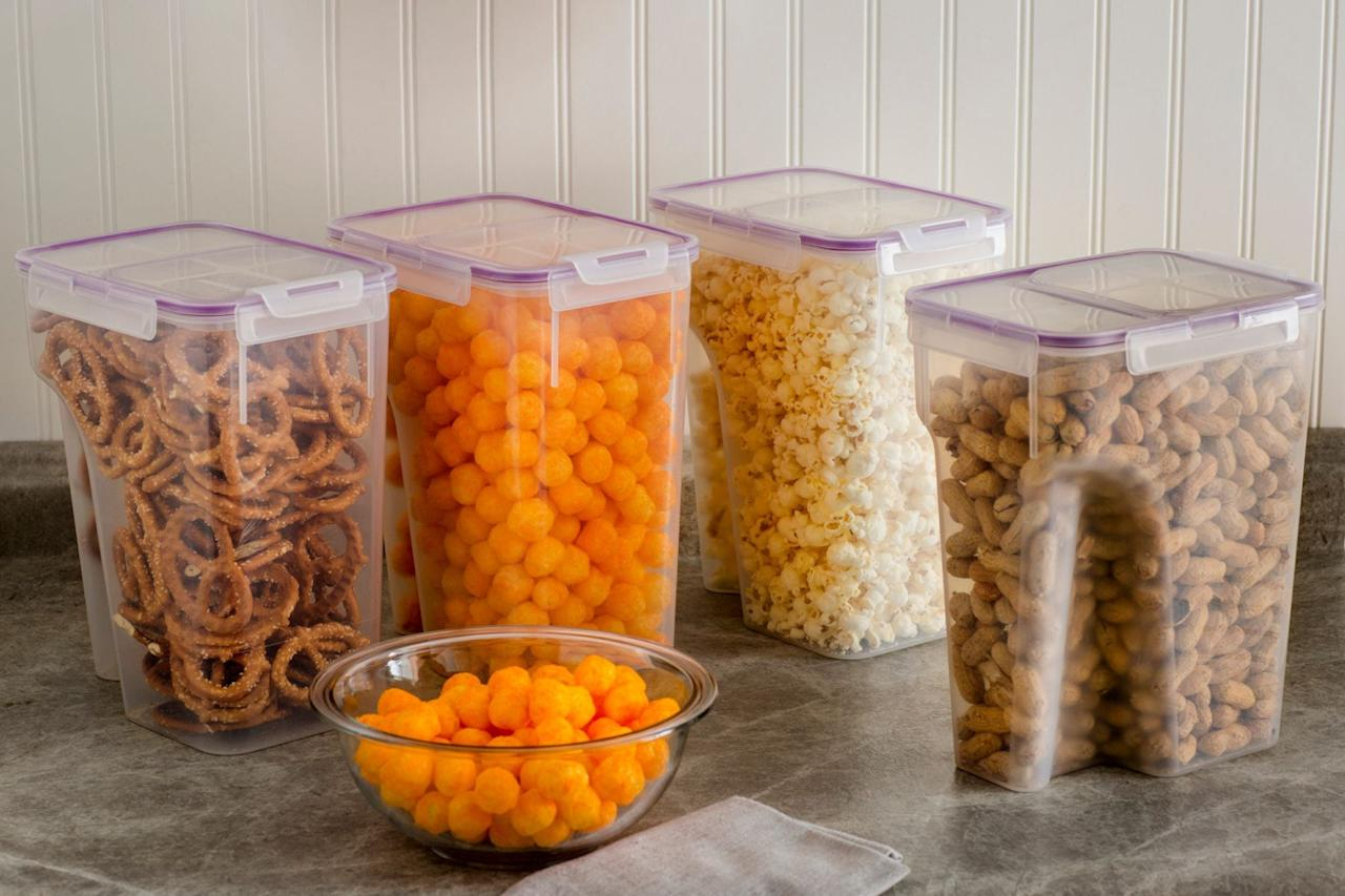 """<p>Keep snacks and cereals organized and visible with these <a href=""""https://www.popsugar.com/buy/Snapware-Airtight-Food-Storage-Containers-407463?p_name=Snapware%20Airtight%20Food%20Storage%20Containers&retailer=walmart.com&pid=407463&price=34&evar1=casa%3Aus&evar9=46390211&evar98=https%3A%2F%2Fwww.popsugar.com%2Fhome%2Fphoto-gallery%2F46390211%2Fimage%2F46390305%2FSnapware-Airtight-Food-Storage-Containers&list1=shopping%2Corganizing%2Corganization%2Chome%20organization%2Chome%20shopping&prop13=mobile&pdata=1"""" rel=""""nofollow"""" data-shoppable-link=""""1"""" target=""""_blank"""" class=""""ga-track"""" data-ga-category=""""Related"""" data-ga-label=""""https://www.walmart.com/ip/Snapware-Airtight-Food-Storage-22-8-Cup-Container-with-Fliptop-Lid-Set-of-4/17202470"""" data-ga-action=""""In-Line Links"""">Snapware Airtight Food Storage Containers</a> ($34).</p>"""