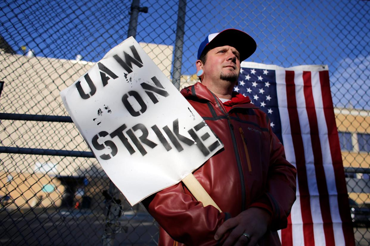 Justin McCauley, 36, of Saginaw is a temporary worker with three years experience working atthe General Motors Flint assembly plant, where he know strikes on the fourth day of the nationwide strike of UAW strike against General Motors after stalled contract talks in Flint, Mich. on Thursday, Sept. 19, 2019.