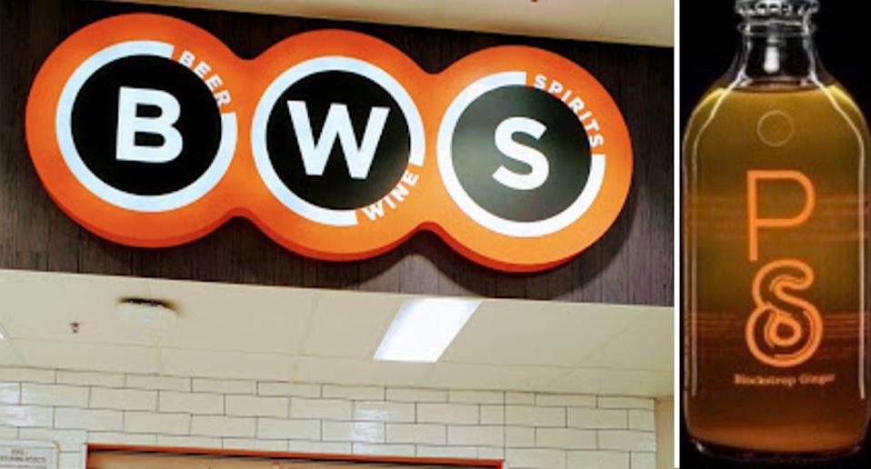 BWS store logo next to a picture of the recalled Blackstrap Ginger soft drink.