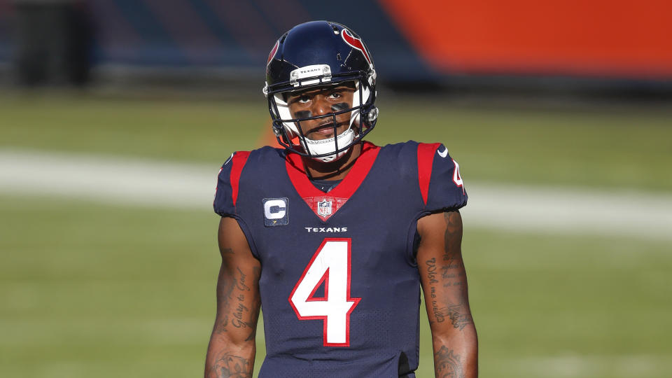 Houston Texans quarterback Deshaun Watson (4) in action during the first half of an NFL football game against the Chicago Bears, Sunday, Dec. 13, 2020, in Chicago. (AP Photo/Kamil Krzaczynski)
