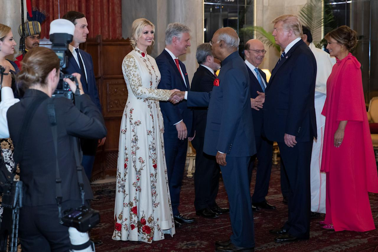 White House Senior Adviser Jared Kushner and his wife Ivanka Trump are greeted by Indian President Ram Nath Kovind during a state banquet with first lady Melania Trump at right, at Rashtrapati Bhavan, in New Delhi, India February 25, 2020. Alex Brandon/PoolviaREUTERS