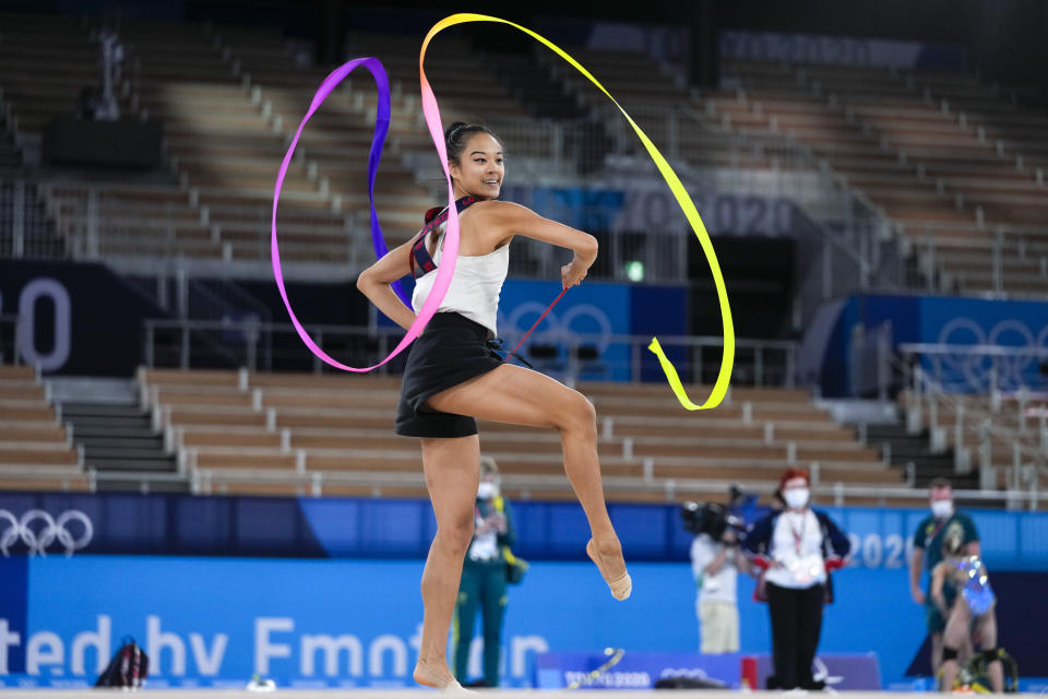 Laura Zeng of the United States performs during a rhythmic gymnastics individual training session at the 2020 Summer Olympics, Thursday, Aug. 5, 2021, in Tokyo, Japan. (AP Photo/Markus Schreiber)