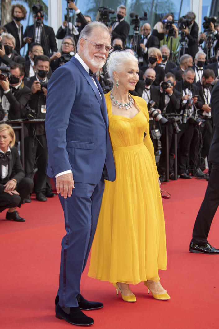 Dame Helen Mirren and husband Taylor Edwin Hackford attend the 'Annette' premiere at the Cannes Film Festival on July 6, 2021. - Credit: Franck Boham/imageSPACE / MEGA