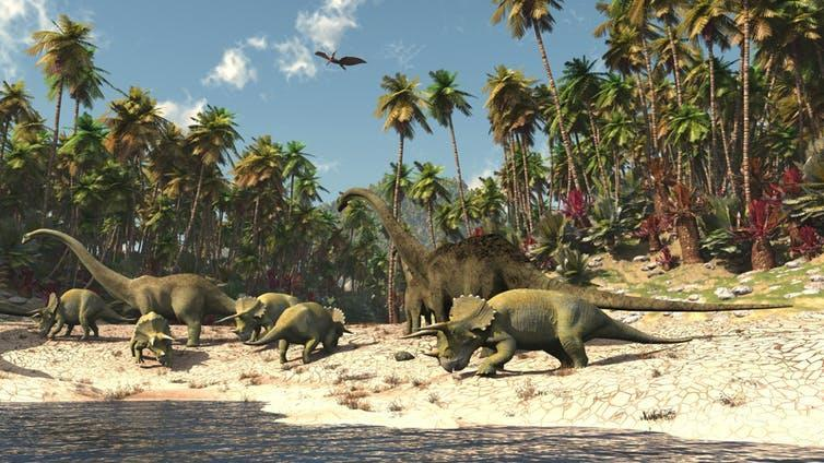 """<span>Dinosaurs flourished in a hothouse world of swamps and rainforest - but they had millions of years to evolve alongside it.</span> <span><a class=""""link rapid-noclick-resp"""" href=""""https://www.shutterstock.com/image-illustration/dinosaurs-jurassic-park-112635275?src=UDaSDxYN-vFklhPlpbF1pw-1-1"""" rel=""""nofollow noopener"""" target=""""_blank"""" data-ylk=""""slk:Shutterstock"""">Shutterstock</a></span>"""