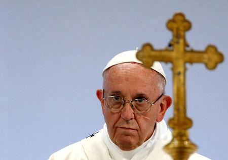 FILE PHOTO: Pope Francis leads a Holy Mass at the Palexpo in Geneva