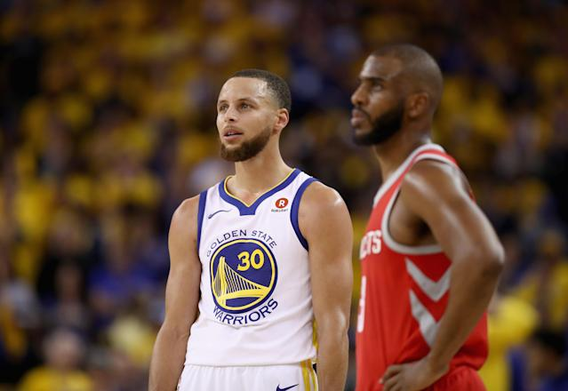Stephen Curry on the Hornets. Chris Paul on the Warriors. No Warriors dynasty. No Lob City. (Photo by Ezra Shaw/Getty Images)