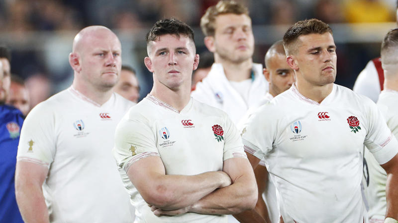 England's players, pictured looking on after their loss to South Africa in the Rugby World Cup final.